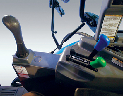 Ergonomically designed  3-point hitch controls and  fender mounted joystick